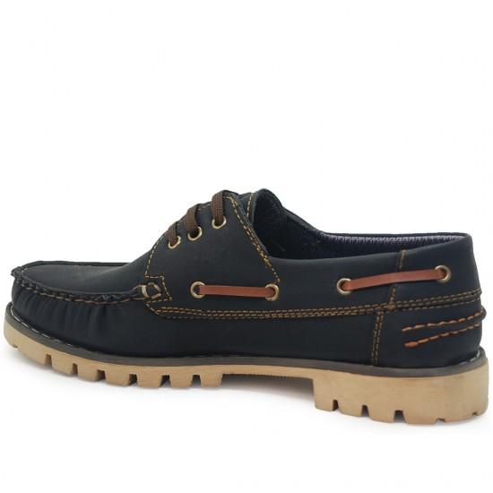 Modamela E141 Koyu Lacivert Taba Nubuk Erkek Casual Ayakkabı