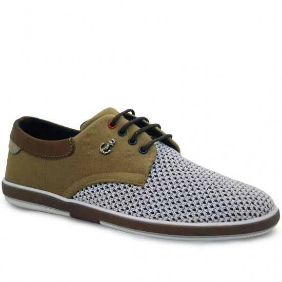 Modamela E163 Vizon Beyaz Keten Casual Erkek Ayakkabı