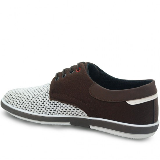 Modamela E164 Beyaz Kahve Keten Casual Erkek Ayakkabı
