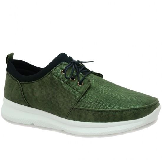 Modamela E187 Yeşil Deri Bağcıklı Erkek Spor Ayakkabı