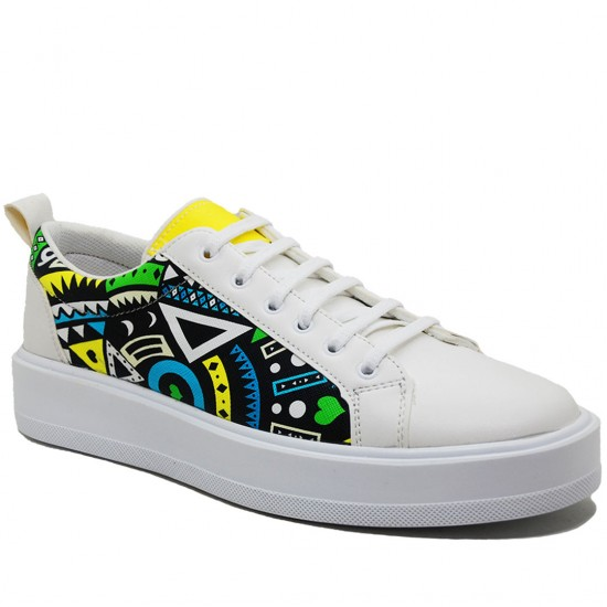 Modamela E194 Beyaz Renkli Deri Erkek Spor Ayakkabı