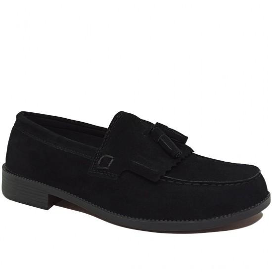 Modamela E096 Süet Siyah Corcik Erkek Ayakkabı