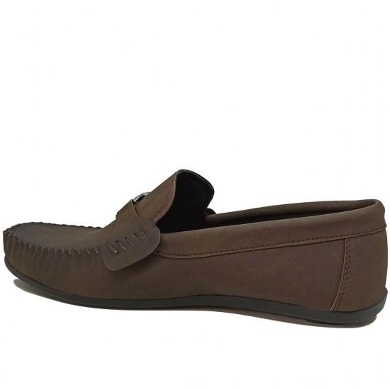 Modamela E486 Kahverengi Deri Tokalı Erkek Ayakkabı