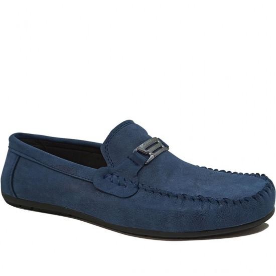 Modamela E488 Mavi Deri Tokalı Erkek Ayakkabı