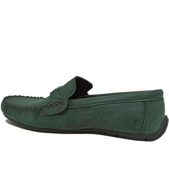 Modamela E489 Yeşil Deri Tokalı Erkek Ayakkabı