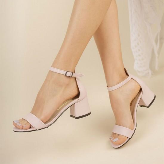 Modamela K122 Pudra Deri Topuklu Kadın Ayakkabı