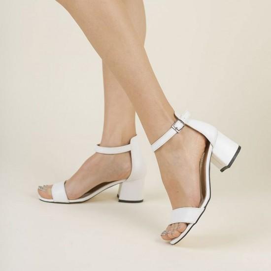 Modamela K126 Beyaz Deri Topuklu Kadın Ayakkabı