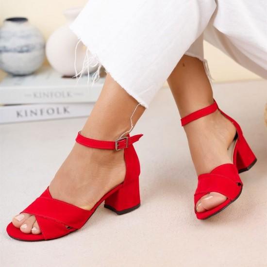 Modamela K129 Kırmızı Süet Topuklu Kadın Ayakkabı