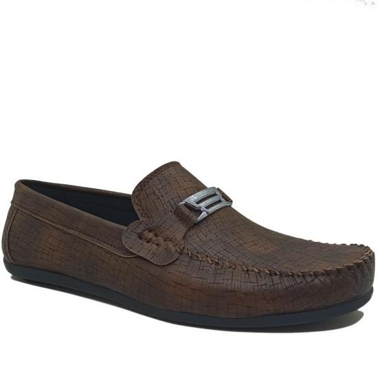 Modamela E389 Kahverengi Deri Tokalı Erkek Ayakkabı