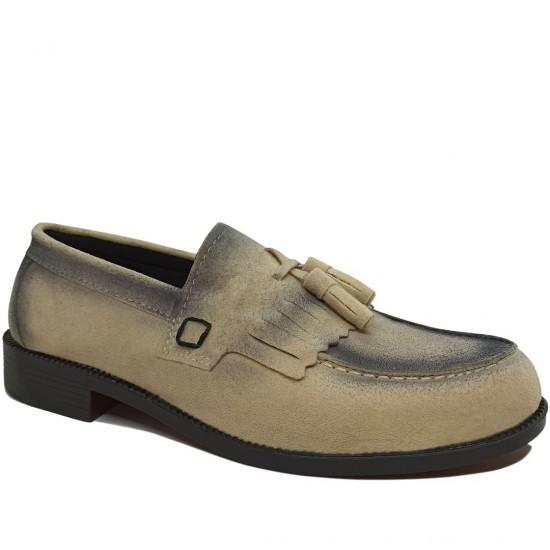 Modamela E422 Ekru Süet Corcik Erkek Ayakkabı