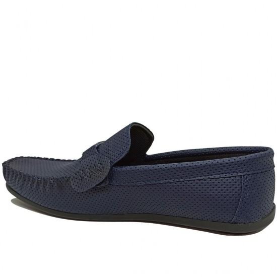 Modamela E456 Lacivert Deri Tokalı Erkek Ayakkabı