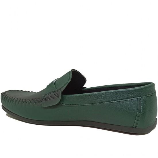 Modamela E468 Yeşil Deri Tokalı Erkek Ayakkabı