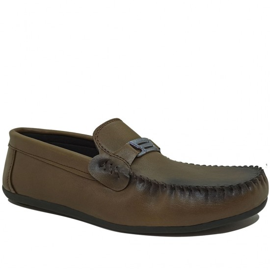 Modamela E487 Vizon Kahve Deri Tokalı Erkek Ayakkabı