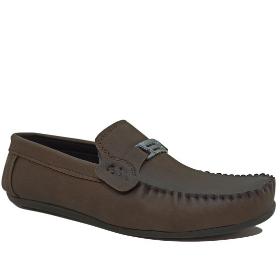 Modamela E492 Kahverengi Deri Tokalı Erkek Ayakkabı