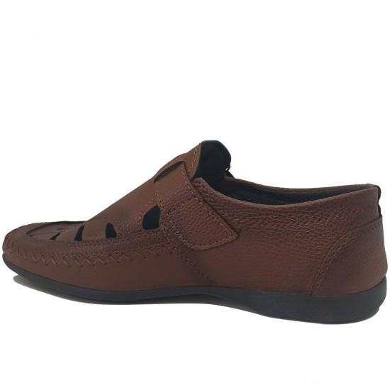 Modamela E508 Kahverengi Deri Erkek Sandalet