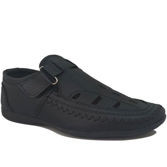 Modamela E509 Siyah Deri Erkek Sandalet