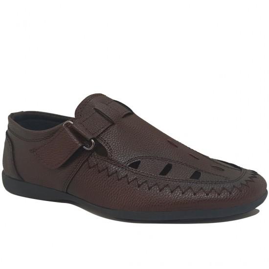 Modamela E510 Koyu Kahve Deri Erkek Sandalet