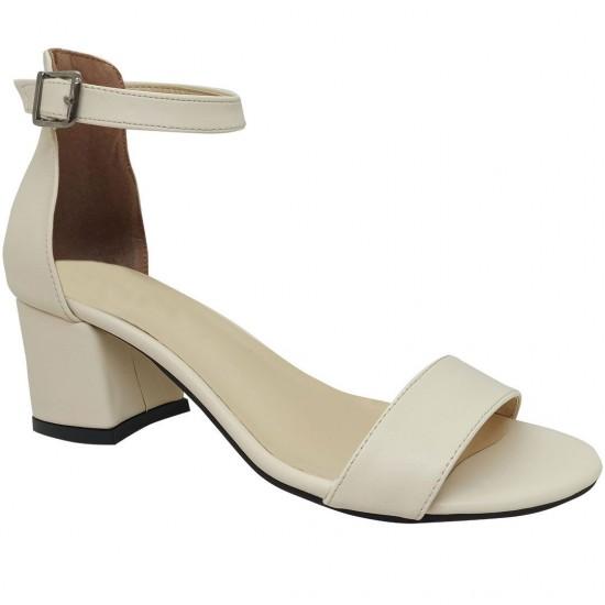 Modamela K123 Ekru Deri Topuklu Kadın Ayakkabı