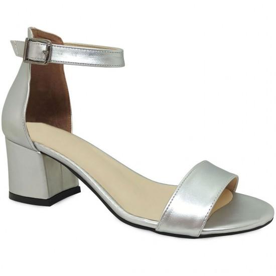 Modamela K127 Gümüş Deri Topuklu Kadın Ayakkabı