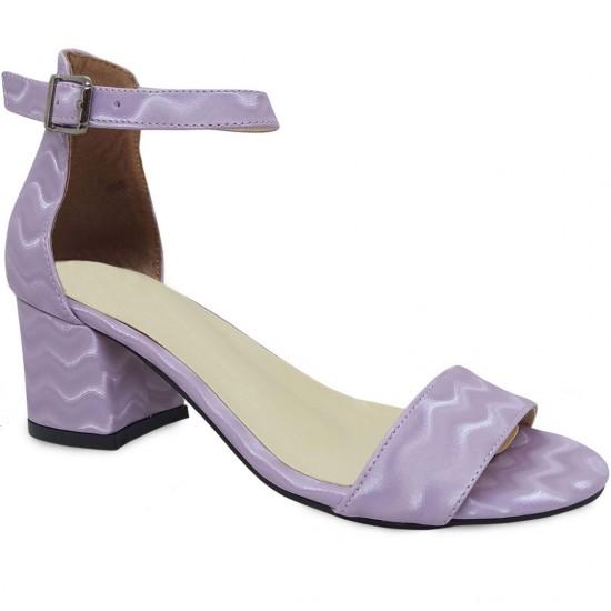 Modamela K131 Lila Deri Topuklu Kadın Ayakkabı