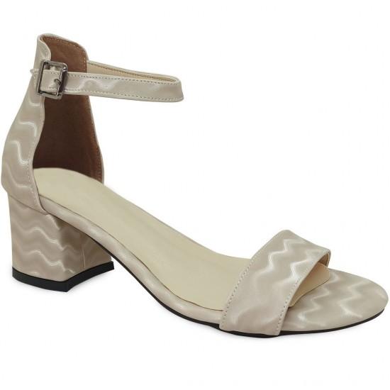 Modamela K132 Krem Deri Topuklu Kadın Ayakkabı