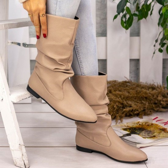 Modamela K137 Vizon Cilt Kadın Çizme