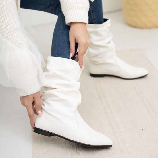 Modamela K140 Beyaz Cilt Kadın Çizme