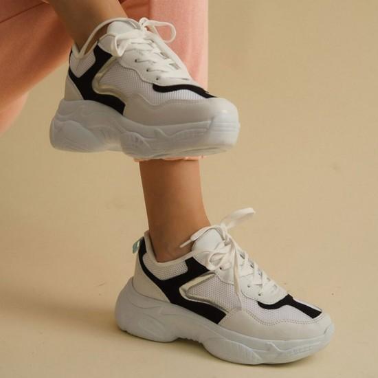 Modamela K135 Beyaz Siyah Kadın Spor Ayakkabı