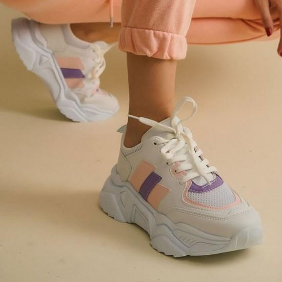 Modamela K134 Beyaz Pembe Kadın Spor Ayakkabı